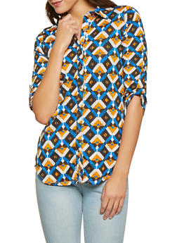 Abstract Print Tabbed Sleeve Shirt - Multi - Size M - 1303074294160