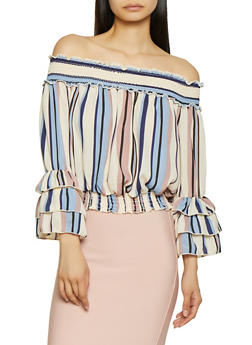 Tiered Sleeve Off the Shoulder Top - 1303074297105