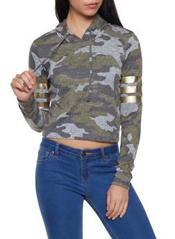 Camo Foil Stripe Detail Hooded Sweatshirt - 1304015991079