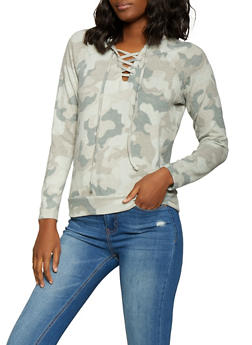 204e26b90bd Hooded Knit Camo Sweatshirt.  14.99. Plus Size ...