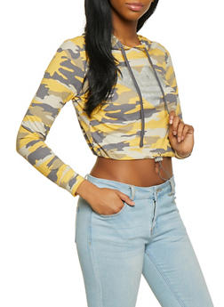 Foil Heart Camo Cropped Hooded Top - 1304015991321