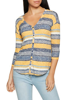 Striped Rib Knit Button Front Top - 1304015992048