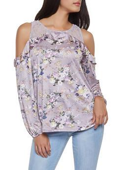 Floral Lace Cold Shoulder Top - 1304015992981
