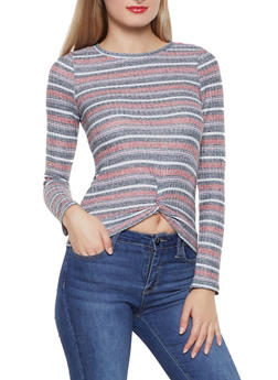 Striped Twist Front Top - 1304015993509