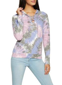 Lace Up Tie Dye Sweatshirt - 1304015993932