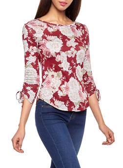 Floral Drawstring Sleeve Top - 1304015996700