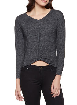 Twist Front Brushed Knit Sweater - 1304015998602