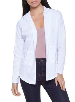 Hooded Long Sleeve Cardigan - 1304038343304