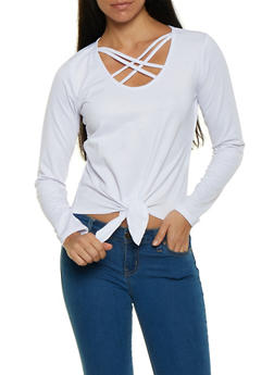 Caged Tie Front Top - 1304038343312