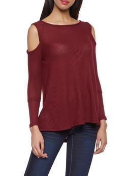 Long Sleeve Cold Shoulder Top - 1304038343324