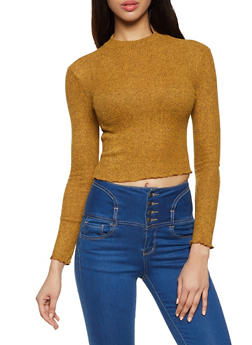 Brushed Rib Knit Top - 1304054261667