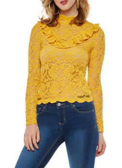 All Over Lace Ruffle Top - 1304054265872