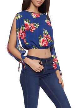 Open Tie Sleeve Floral Crop Top - 1304058750115