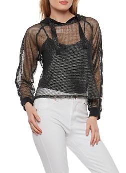 Snap Sleeve Glitter Fishnet Hoodie - 1304058750529