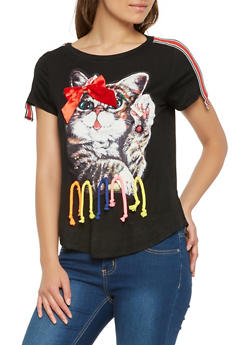 Studded Cat Graphic Tee - 1304058750631