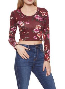 Brushed Knit Floral Crop Top - 1304058750874