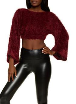 Eyelash Knit Cropped Sweater - 1304058751299
