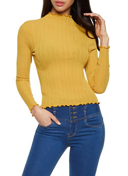 Lettuce Edge Ribbed Knit Top - 1304058751825