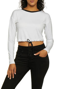 Drawstring Waist Crop Top - 1304058751842