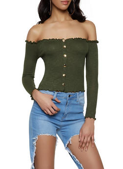 Ribbed Off the Shoulder Crop Top | 1304058751862 - 1304058751862