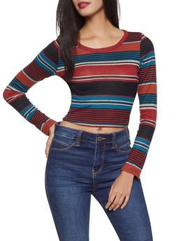 Striped Long Sleeve Crop Top - 1304058752076