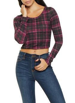 Plaid Knit Crop Top - 1304058752077