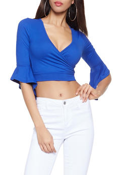 Faux Wrap Crop Top - 1304058752162