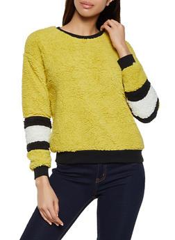 Striped Sleeve Detail Sherpa Sweatshirt - 1304058752352