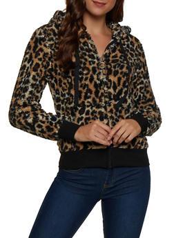 Leopard Print Sherpa Sweatshirt - 1304058752355