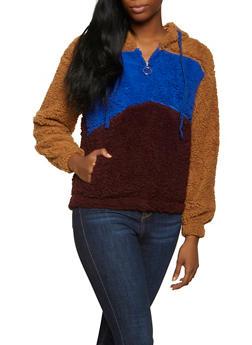 Sherpa Color Block Hooded Sweatshirt - 1304058752357