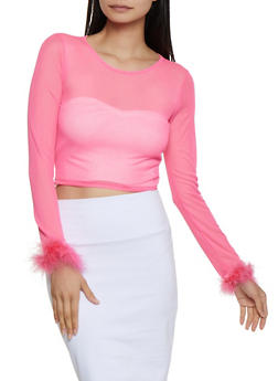 Feather Trim Mesh Crop Top - 1304058752545