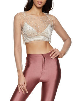 Faux Pearl Studded Mesh Crop Top - 1304058752559