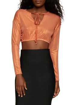 Metallic Knit Long Sleeve Crop Top - 1304058752671