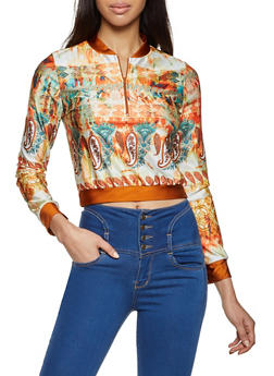 Printed Spandex Zip Neck Top - 1304058752875