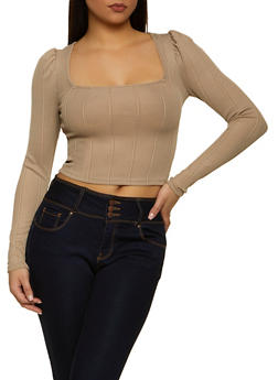 Ribbed Knit Square Neck Top - 1304058753062