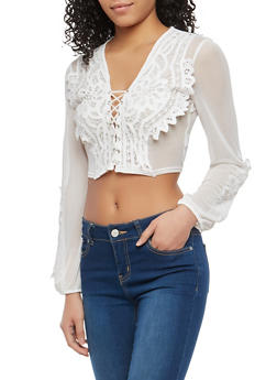 Lace Up Crochet Mesh Crop Top - 1304074290145