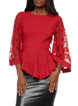 Lace Bell Sleeve Peplum Top - 1304074290147