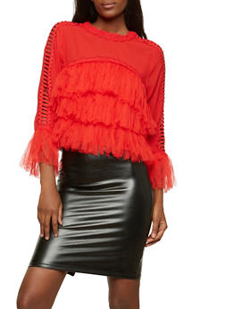 Tiered Mesh Fringe Top with Caged Sleeve Detail - 1304074290148