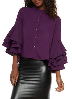 Tiered Sleeve Button Front Top - 1304074290151