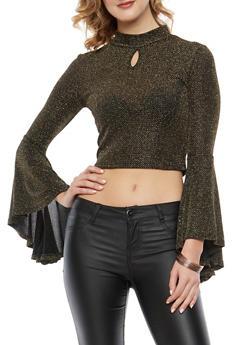 Glitter Knit Bell Sleeve Crop Top - 1304074290175