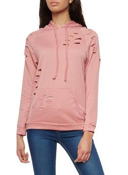 Laser Cut Hooded Pullover Sweatshirt - 1304074290178