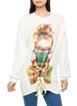 Stitched Graphic Lace Up Oversized T Shirt - 1304074290404