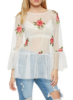 Floral Embroidered Mesh Tunic Top - 1304074290429
