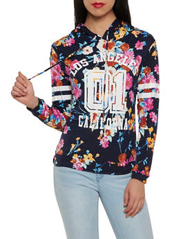 Floral Graphic Soft Knit Hooded Top - 1304074290438