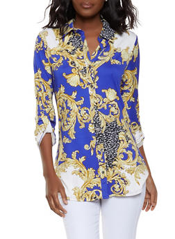 Printed Button Front Shirt - 1304074292004