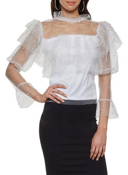 Faux Pearl Mesh Tiered Top - 1304074292073