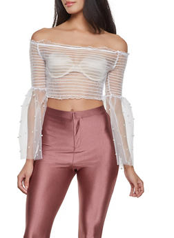 Smocked Off the Shoulder Mesh Crop Top - 1304074292075