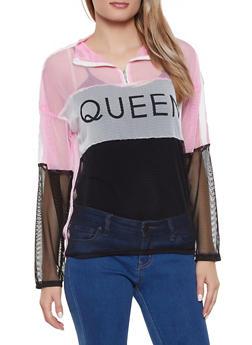Color Block Queen Fishnet Pullover Top - 1304074292450