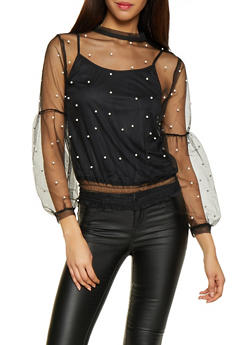 Faux Pearl Studded Mesh Top - 1304074292862