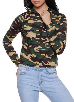 Striped Tape Trim Hooded Camo Tee - OLIVE - 1304074294113
